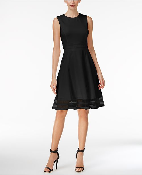 Calvin Klein Illusion Trim Fit Amp Flare Dress Regular