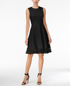 ILLUSION-TRIM FIT & FLARE DRESS, REGULAR & PETITE SIZES