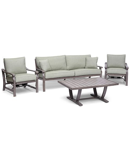 Furniture Tara Aluminum Outdoor 4-Pc. Seating Set (1 Sofa, 2 Rocker Chairs & 1 Coffee Table), with Sunbrella® Cushions, Created for Macy's