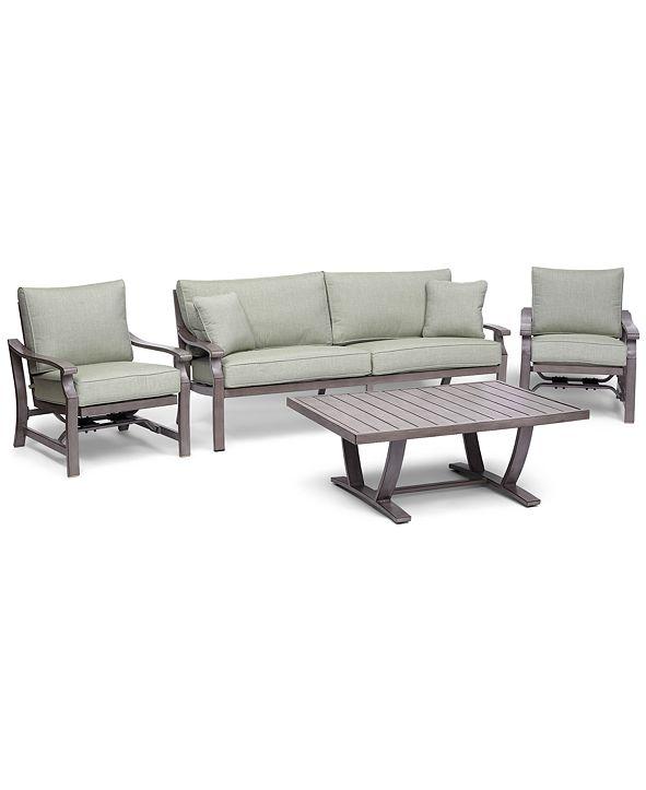 Furniture Tara Aluminum Outdoor 4-Pc. Seating Set (1 Sofa, 2 Rocker Chairs & 1 Coffee Table), with Sunbrella® Cushions, Created for Macy's