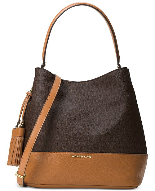 30c2f5cb370e Michael Kors Signature Kip Large Bucket Bag & Reviews - Handbags ...