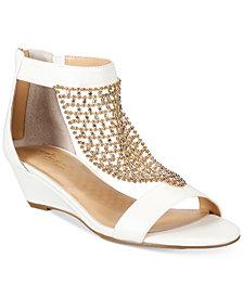 Thalia Sodi Tibby Mesh Embellished Wedge Sandals, Created for Macy's