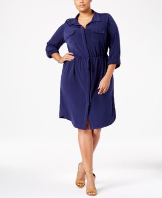NY Collection Plus Size Utility Shirtdress