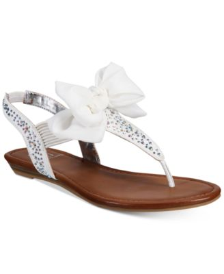 Image of Material Girl Swan Flat Thong Sandals, Only at Macy's
