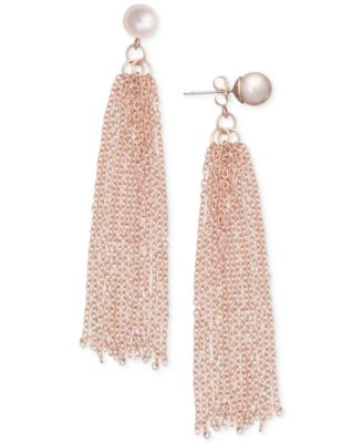 Image of Robert Rose for INC International Concepts Imitation Pearl Tassel Drop Earrings, Only at Macy's