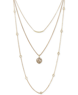 Lucky brand gold tone bar floral disc and stone layer for Macy s lucky brand jewelry