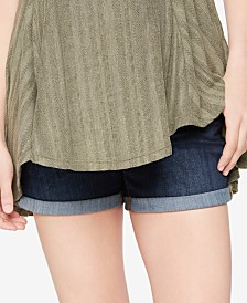 Luxe Essentials Cuffed Denim Maternity Shorts