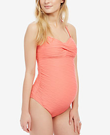 Motherhood Maternity Twist-Front One-Piece Swimsuit