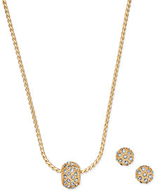 Charter Club Gold-Tone Pavé Ball Pendant Necklace and Stud Earrings Set, Created for Macy's