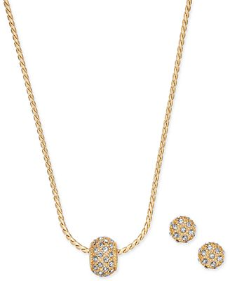 Charter Club Gold Tone Pave Ball Pendant Necklace And Stud Earrings