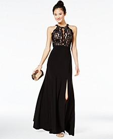 Juniors' Sequined Lace & Solid Gown