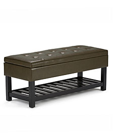 CLOSEOUT! Verona Faux Leather Storage Ottoman with Shelf, Quick Ship