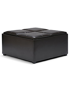 Avalon Fabric Coffee Table Storage Ottoman, Quick Ship