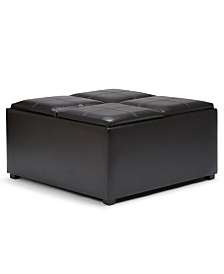 Avalon Coffee Table Storage Ottoman, Quick Ship