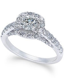 diamond halo engagement ring 1 14 ct tw in 14k - Macy Wedding Rings