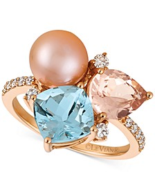 Multi-Gemstone (2-9/10 ct. t.w.), Cultured Freshwater Pearl (9mm) and Diamond (1/4 ct. t.w.) Ring in 14k Rose Gold
