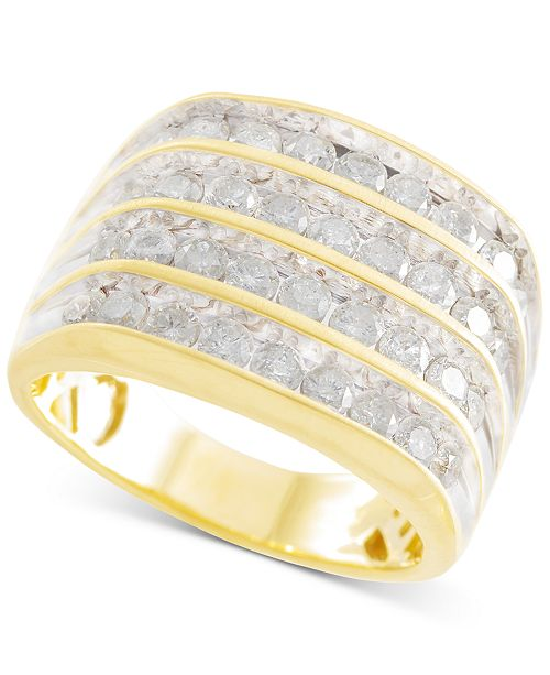 Macy's Men's Diamond Multi-Row Ring (2 ct. t.w.) in 10k Gold