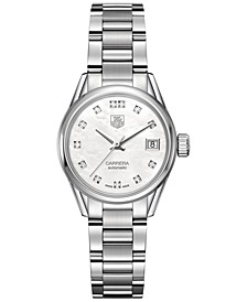 Women's Swiss Automatic Carrera Diamond (1/10 ct. t.w.) Stainless Steel Bracelet Watch 28mm