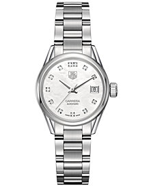 TAG Heuer Women's Swiss Automatic Carrera Diamond (1/10 ct. t.w.) Stainless Steel Bracelet Watch 28mm WAR2414.BA0776