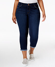 Jessica Simpson Trendy Plus Size Royal Wash Cuffed Skinny Jeans