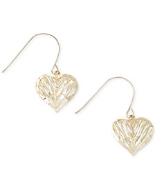 Openwork Puff Heart Drop Earrings in 10k Gold
