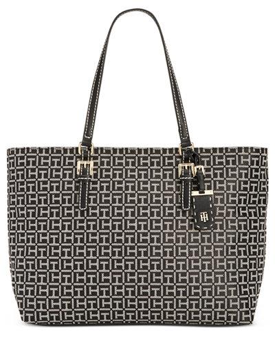 Tommy Hilfiger Julia Monogram Jacquard Tote Handbags