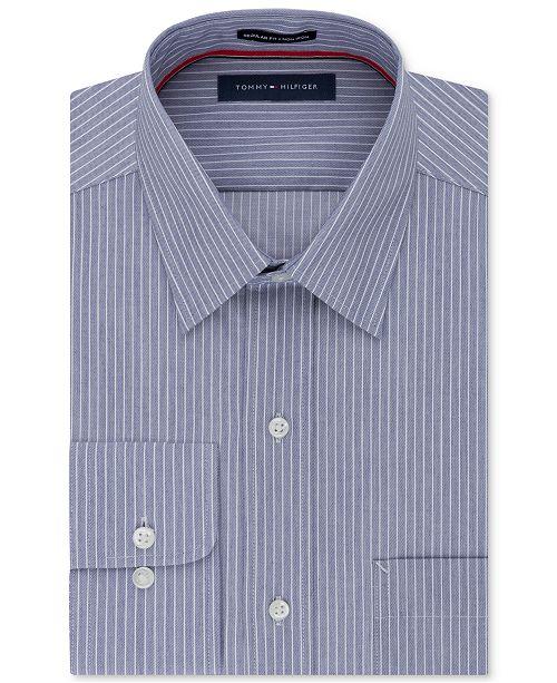 Tommy Hilfiger Men's Classic Fit Non-Iron Stripe Dress Shirt