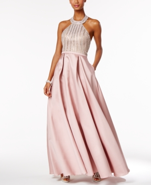 Vintage Evening Dresses and Formal Evening Gowns Xscape Beaded Open-Back Halter Ball Gown $339.00 AT vintagedancer.com