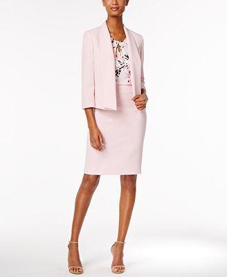 Kasper Shawl-Collar Blazer, Keyhole Shell & Pencil Skirt
