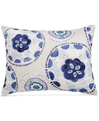 "bluebell gray Medallion-Print 18"" x 24"" Decorative Pillow, Created for Macy's"