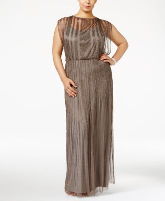 Adrianna Papell Plus Size Beaded Illusion Blouson Gown
