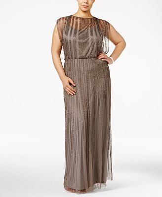 Adrianna Papell Plus Size Beaded Illusion Blouson Gown - Dresses ...