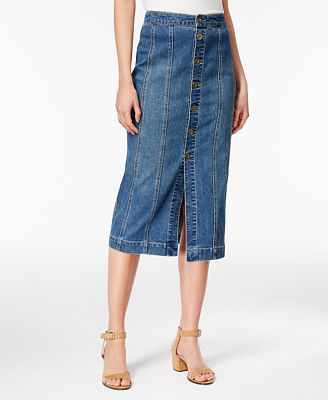 style co button front denim skirt created for macy s