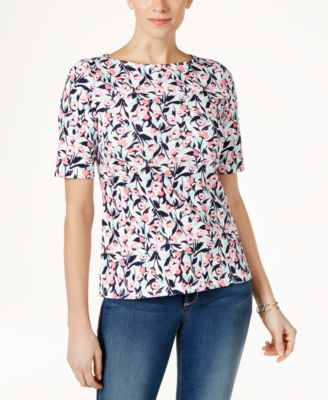 Image of Charter Club Cotton Printed Boat-Neck Top, Only at Macy's