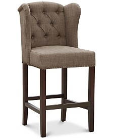 Maria Tufted Wing Counter Stool, Quick Ship