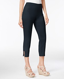 JM Collection Petite Lattice-Hem Capri Pants, Created for Macy's