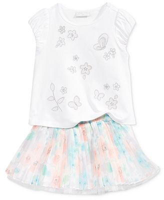 First Impressions 2-Pc. Butterfly T-Shirt & Floral-Print Skirt Set, Baby Girls (0-24 months), Only at Macy's