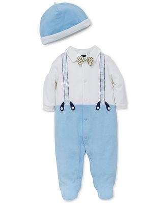 Little Me 2-Pc. Cotton Hat & Footed Coverall Set, Baby Boys (0-24 months)