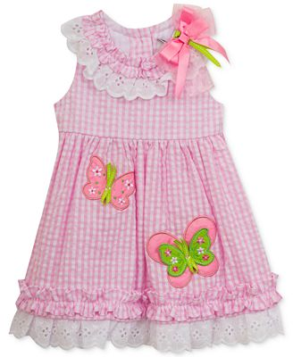 Rare Editions Seersucker Butterfly Dress Baby Girls 0 24