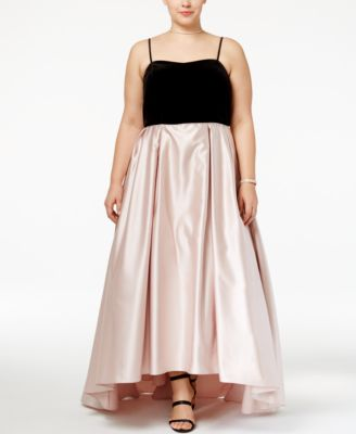 Betsy & Adam Plus Size Velvet Satin Gown