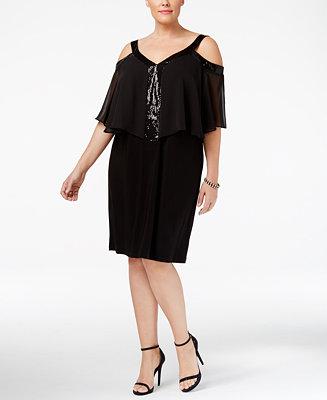 MSK Plus Size Chiffon Cold-Shoulder Dress - Dresses ...