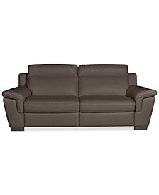 """CLOSEOUT! Julius 92"""" 2-pc Leather Sectional Sofa with 2 Power Recliners, Created for Macy's"""