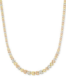 Tri-Tone Graduated Link Necklace in 14k Tri-Color Gold