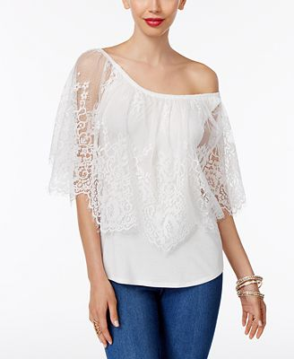 Thalia Sodi Convertible Lace-Overlay Top, Only at Macy's