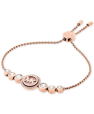 michael kors rose gold tone crystal logo slider bracelet created for macy 39 s jewelry watches. Black Bedroom Furniture Sets. Home Design Ideas