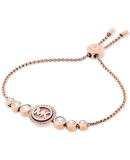 Michael Kors Rose Gold Tone Crystal Logo Slider Bracelet Created For Macy S 5 Reviews Main Image