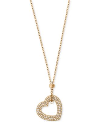 Michael Kors GoldTone Pav Heart Pendant Necklace Jewelry