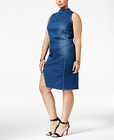 Poetic Justice Trendy Plus Size Mock-Neck Denim Dress