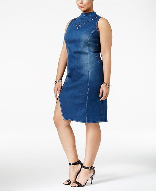 Poetic Justice Trendy Plus Size Mock Neck Denim Dress Dresses