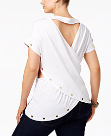 Poetic Justice Trendy Plus Size French Terry Crossover-Back Top